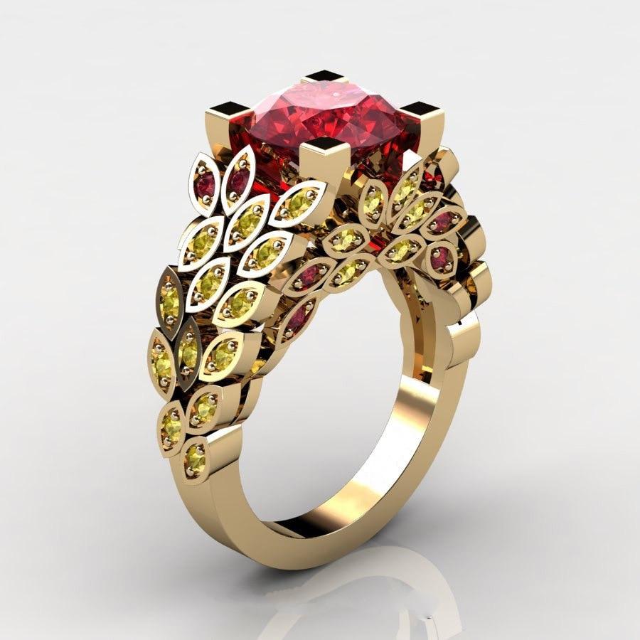 Natural Gemstone Topaz Leaf Ring 3