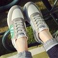 2017 primavera Nuevas Mujeres de los zapatos Que Caminan ocasionales planos femeninos estudiantes Coreanos mujer placa zapatos Para Caminar Red tela de gamuza zapatos de mujer