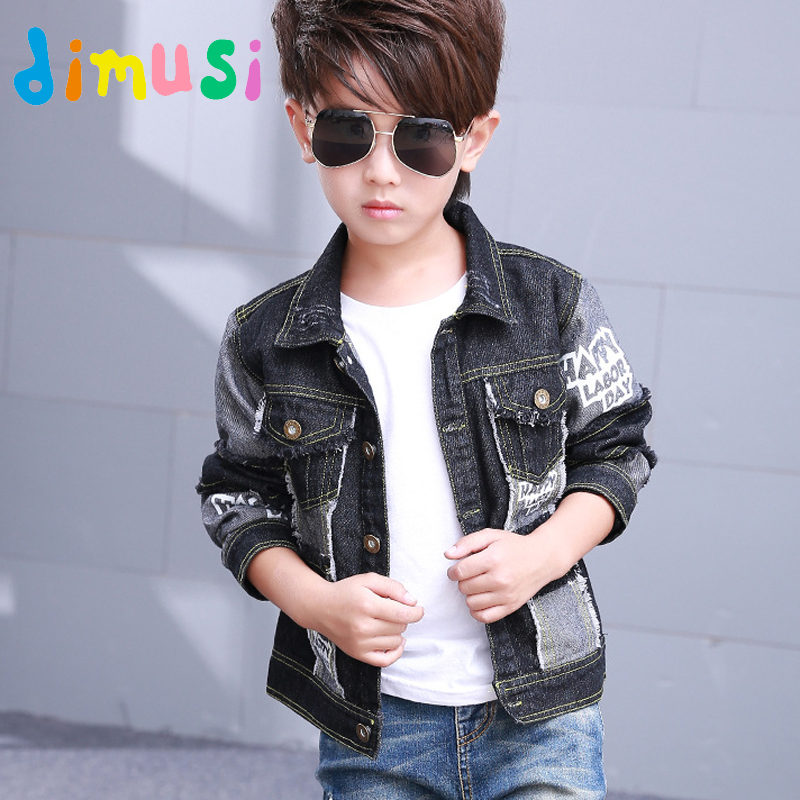 DIMUSI boys Denim jacket For children fashion Autumn kids Motor Jacket windbreak patchwork Black Denim Jackets clothes BC050