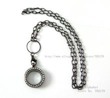 Bling gun black color 1lot 25mm glass memory locket with necklace chain about 73cm length fit for floating locket memory charms