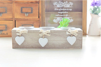 Free Shipping 1pcs Lot Candle Holder Solid Wood Heart Zakka Style Home Bar Coffer House Table