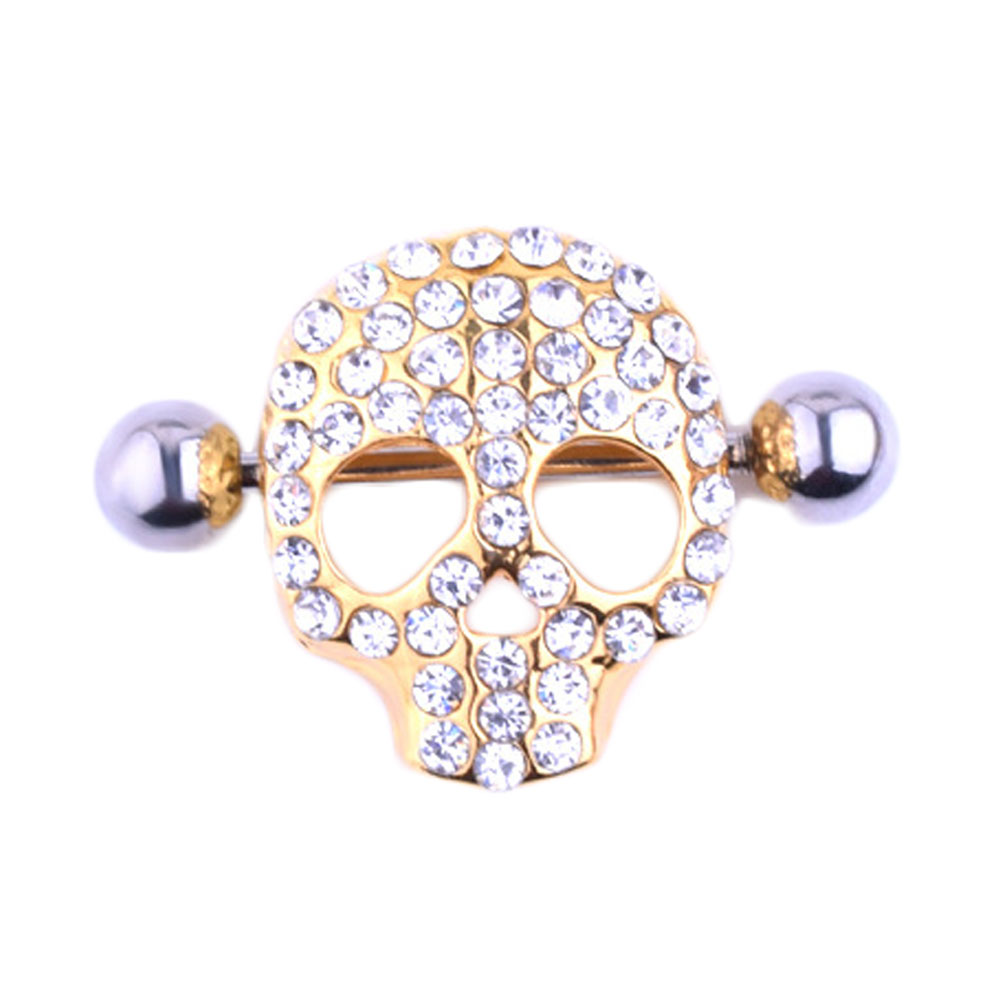 Nipple Piercing Skull Design Shield Nipple Ring Surgical -6263