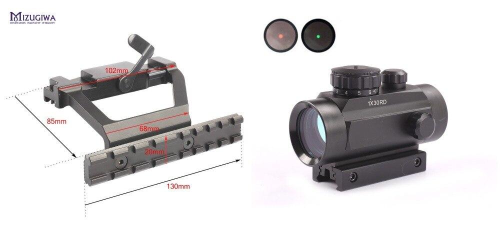 ФОТО Heavy Duty Tactical AK 74 Side Rail Lock Scope Sight Mount Quick QD  20mm + Green Red Dot Riflescope Dot Sight 30mm Lens Sight