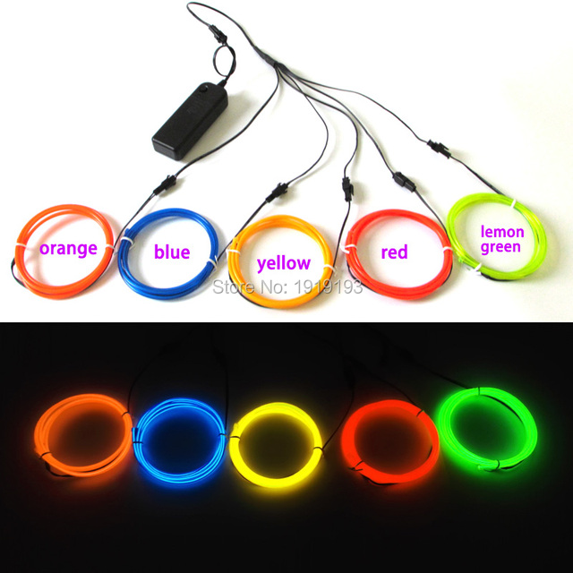 3.2mm multicolor 5pcs x 1Meter EL wire Rope tube neon Led Strip thread light Rope Cable for DIY Glowing Clothes/props,toys,Model