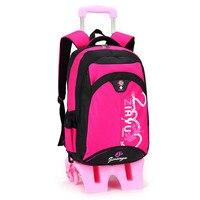 Модные детские школьные сумки tall base 6 колес подняться лестницы тележке рюкзак для мальчиков и девочек большая емкость Bookbag