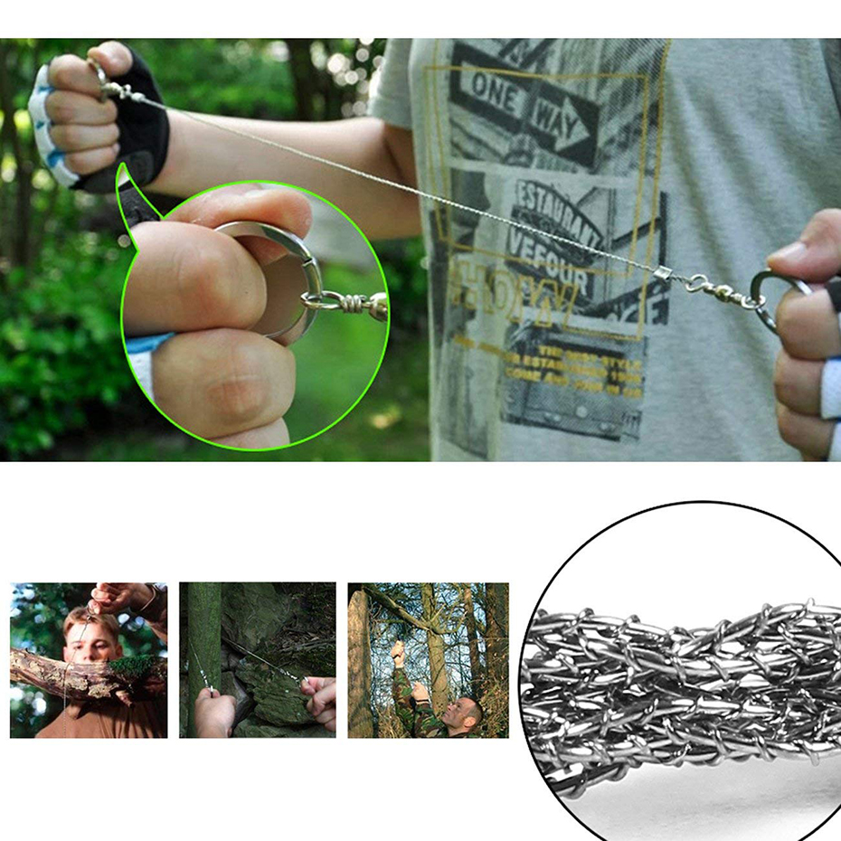 Field Survival Stainless Wire Saw Hand Chain Saw Cutter Outdoor Emergency Fretsaw Camping Hunting Wire Saw Survival Tool