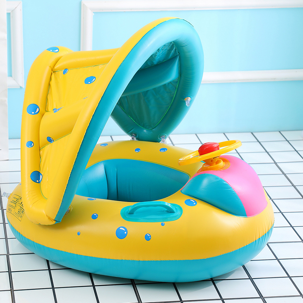 Safe Inflatable Baby Swimming Ring Pool Infant Swimming Pool Float Adjustable Sunshade Seat Baby Bathing Circle Inflatable Wheel baby swimmig ring non inflatable armpit child swimming equipment 1 6 old baby shoulder ring arm circle swimming pool accessories
