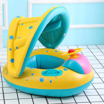 Safe Inflatable Baby Swimming Ring Pool Infant Swimming Pool Float Adjustable Sunshade Seat Baby Bathing Circle Inflatable Wheel - DISCOUNT ITEM  36% OFF All Category