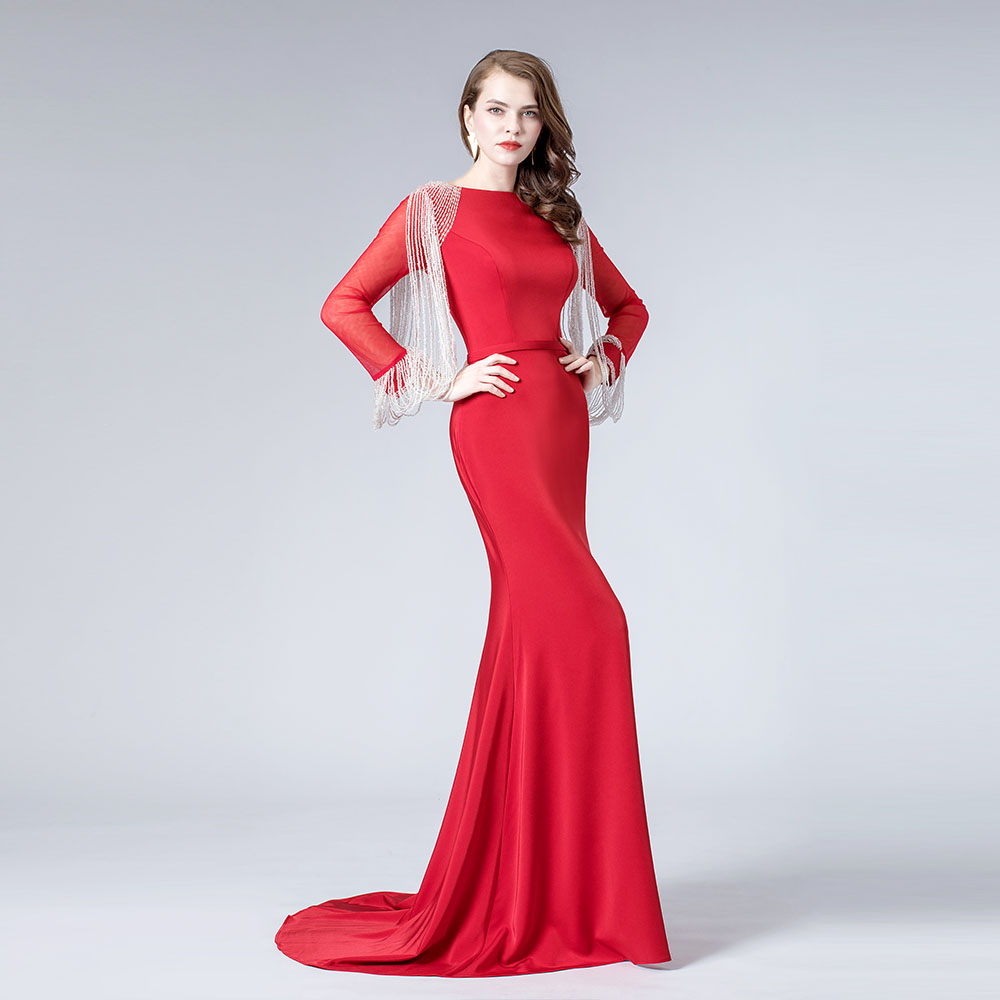Red Beading Long Sleeve Evening Dresses Mermaid Formal Dress Gown Vestidos 2019 Robe De Soiree
