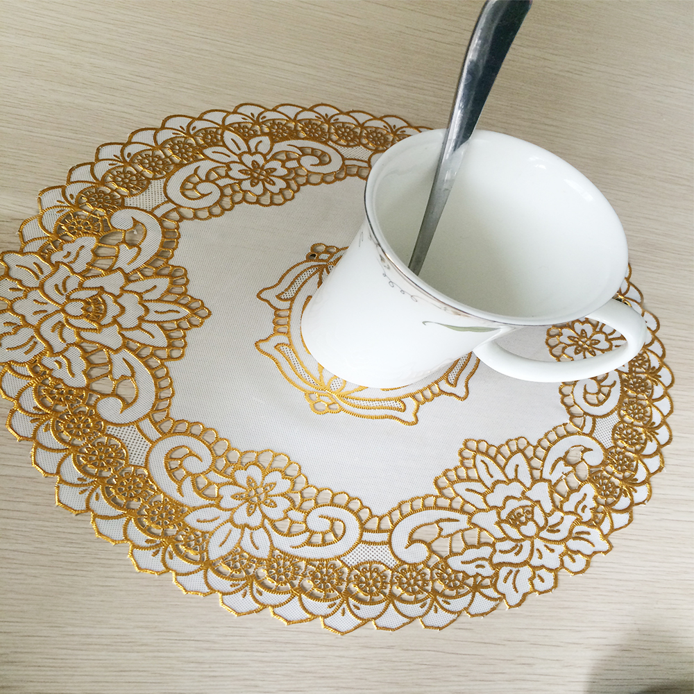 Yazi 4pcs Hollow Floral Gold Table Placemat Wipe Clean Pvc Golden Sequin  Floral Round Doily Mat Cup Pads Wedding Partyin Mats & Pads From Home &  Garden On