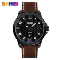 2017 SKMEI Brand Men S Fashion Casual Sport Watches Men Waterproof Leather Quartz Watch Man Military
