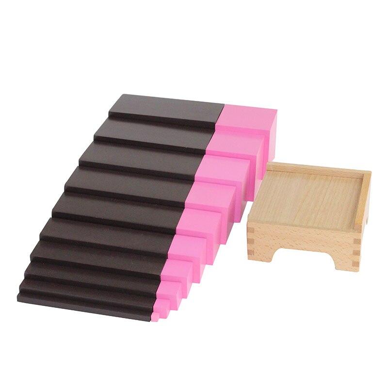 Montessori jouets en bois maternelle enfant apprentissage aides version maison marron échelle rose tour piédestal jouets sensoriels