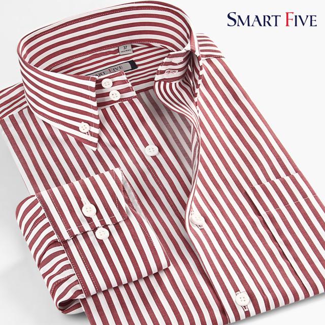 Smartfive marca clothing 100% algodão dos homens camisa camisas casuais tarja de manga comprida masculina slim fit camisas 2017 novo tamanho xs-6xl