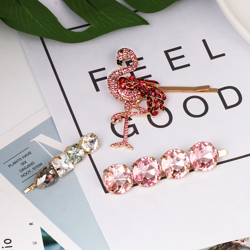 F J4Z Women Luxury Hairpins Fashion Sparkling Crystal Flamingos Hair Jewelry Faux Stone Hair Clip Accessories Palillos del pelo in Hair Jewelry from Jewelry Accessories