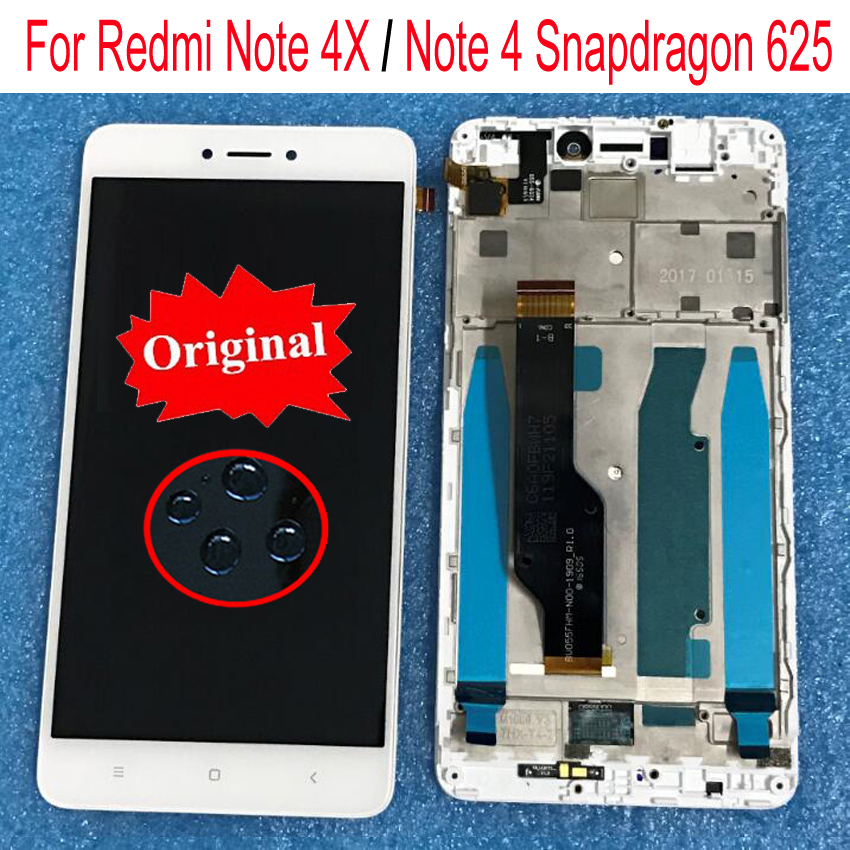 100% Original Sensor For Xiaomi redmi note 4X note 4 Global Version Snapdragon 625 LCD Display Touch Screen Digitizer with frame
