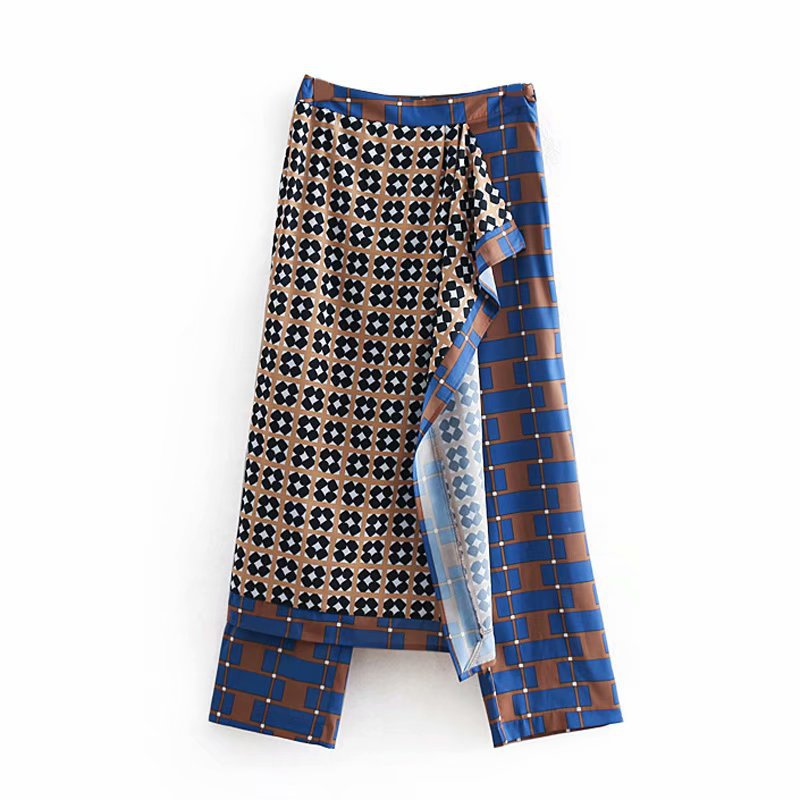 Women's   Wide     Leg     Pants   Stitching Wrap-style Drape Printed Straight