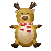 4 Foot Christmas Inflatable Cute Smiling Reindeer w/ Holly Garden LED Blow up Decoration