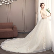 Beautiful Champagne wedding dress 2018 strapless Gorgeous bridal Gown long train Wedding Dresses Vestidos De Noiva Princesa