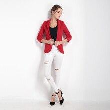 Solid White 3/4 Sleeve Workwear Blazer