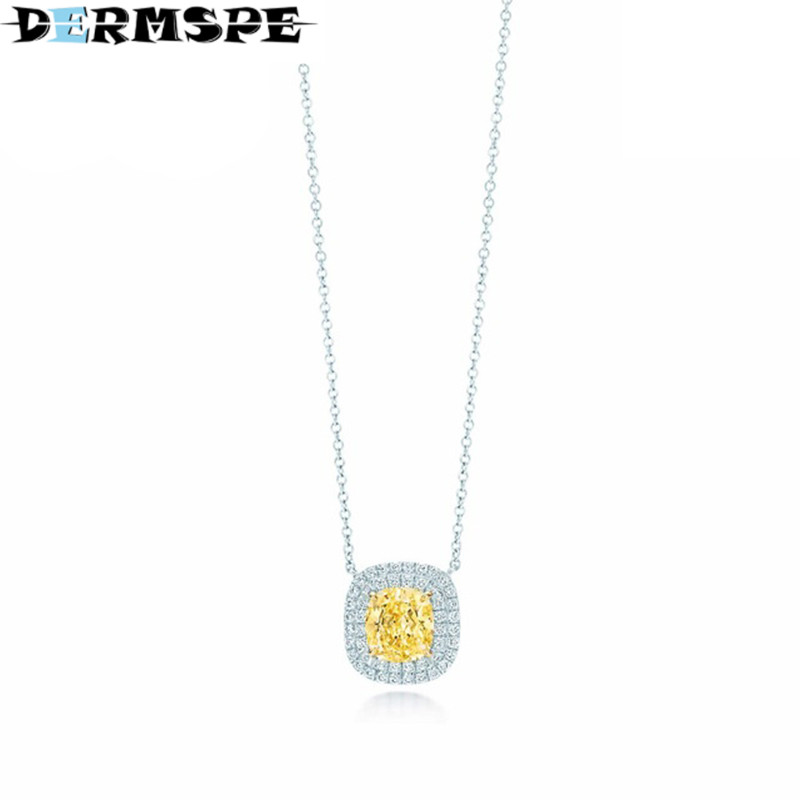 DERMSPE yellow zirconium pendantnecklace TIFF 925 Sterling Silver Pendant Nature Fashion Jewelry Package Mail цены