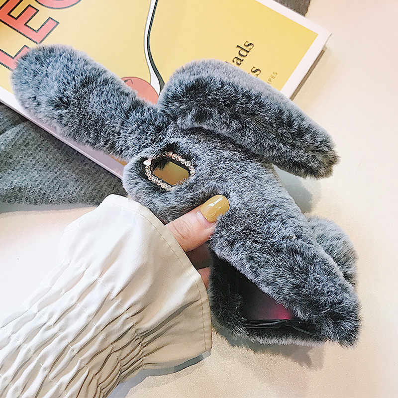 Cute Rabbit Ears Case For Samsung Galaxy Note 9 N9600 Bunny Plush Fur Hair Soft Silicon Phone Case For Samsung Note 8 N950F Case