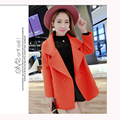Autumn Woolen Outerwear Female Medium-Long Suit Collar Woolen Outerwear Placketing Woolen Overcoat Female