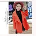 Outono Lã Outerwear Feminino Placketing Médio-Longo Colar de Terno de Lã Outerwear Sobretudo De Lã Feminino