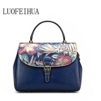 LUOFEIHUA Genuine Leather women bags for women 2019 new retro ethnic style painted hand bag Designer bag female
