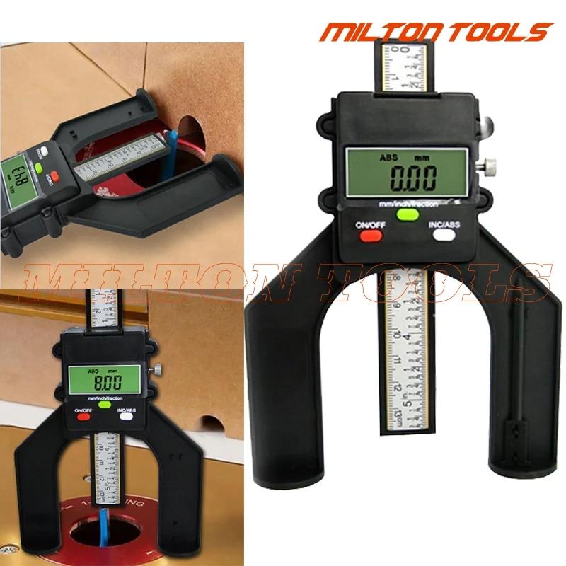 80mm Digital LCD Depth Gauge Magnetic Aperture Hand Router Self Standing