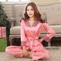 2017 Primavera Verão Outono Mulheres China Cetim de Seda Pijamas Conjuntos de Casa Roupas Pijamas Sleepcoat & Shorts Lady Nightdress Feminino