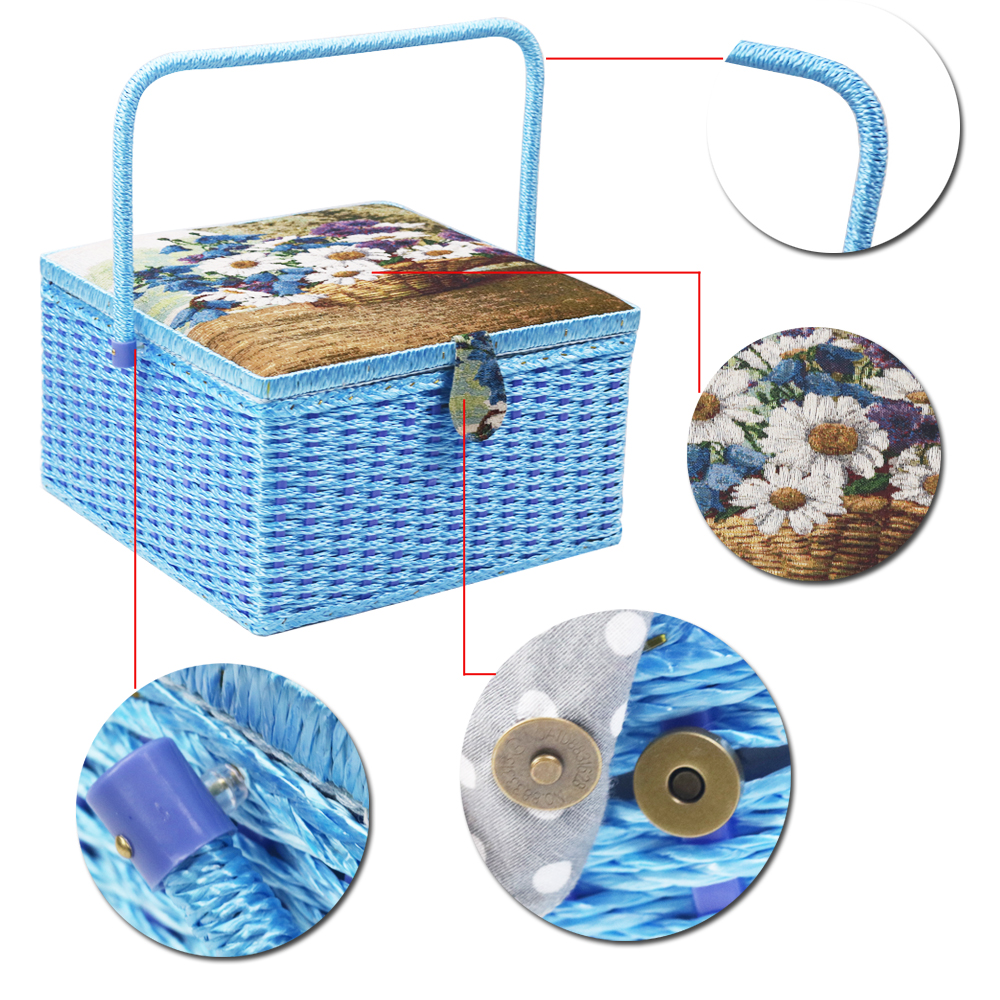 Image 2 - Large Sewing Storage Basket with Sewing Accessories Tools 