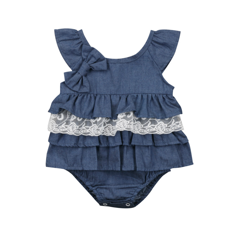 Cute Newborn Baby Girl Summer Ruffles Romper Suit Kids Infant Lace Tutu Denim Jeans One-Piece Rompers Clothes Jumpsuit Sunsuit 3pcs set cute newborn baby girl clothes 2017 worth the wait baby bodysuit romper ruffles tutu skirted shorts headband outfits