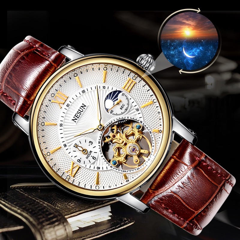 NESUN Fashion Men Casual Hollow Automatic Mechanical Wristwatches Waterproof Sport Watches Creative Male Clock Relogio Masculino