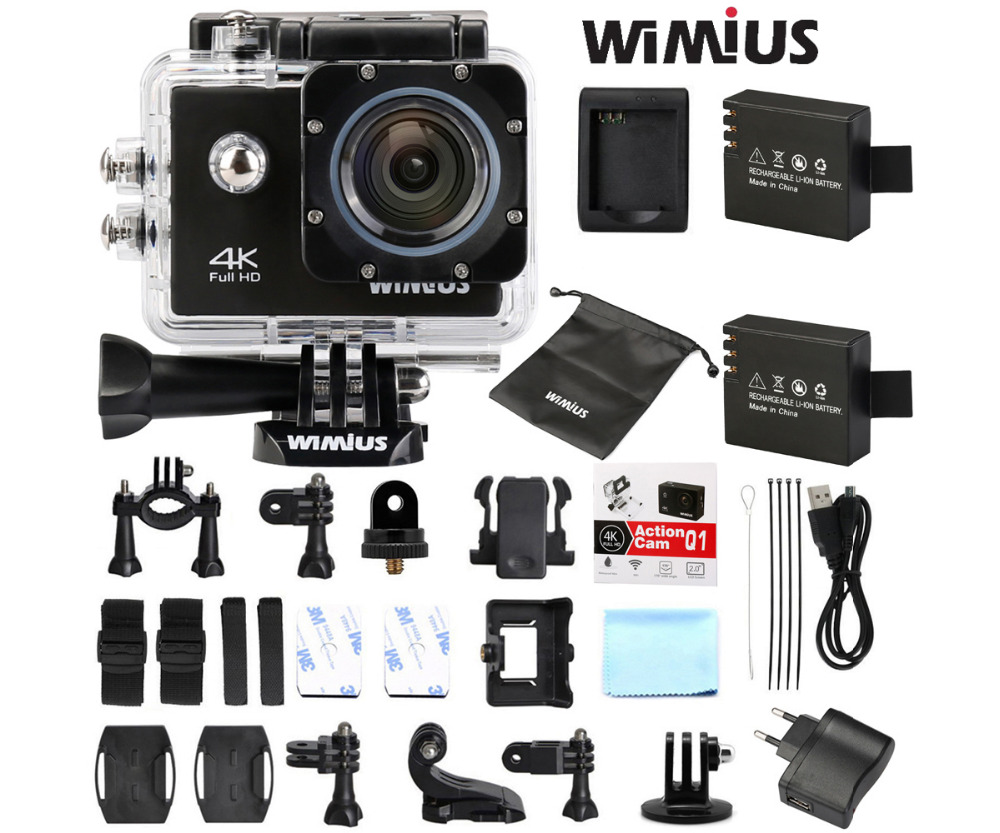 Wimius Wifi Action Camera 4K 30fps Sports Ultra HD 1080P 60fps 16MP Mini Video Helmet Camara Go Underwater 40M Pro + Accessories