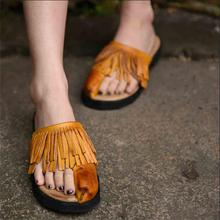 Handmade women's shoes tassel genuine leather slippers comfortable casual toe-covering flat sandals women flip flops Y1201J