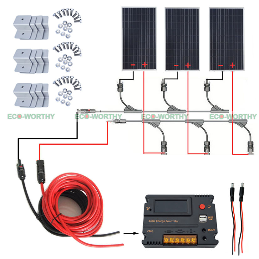 300W 12V off Grid Solar Panel System w/ Temperature Controller for Yacht Home RV boguang 110v 220v 300w mini solar inverter 12v dc output for olar panel cable outdoor rv marine car home camping off grid
