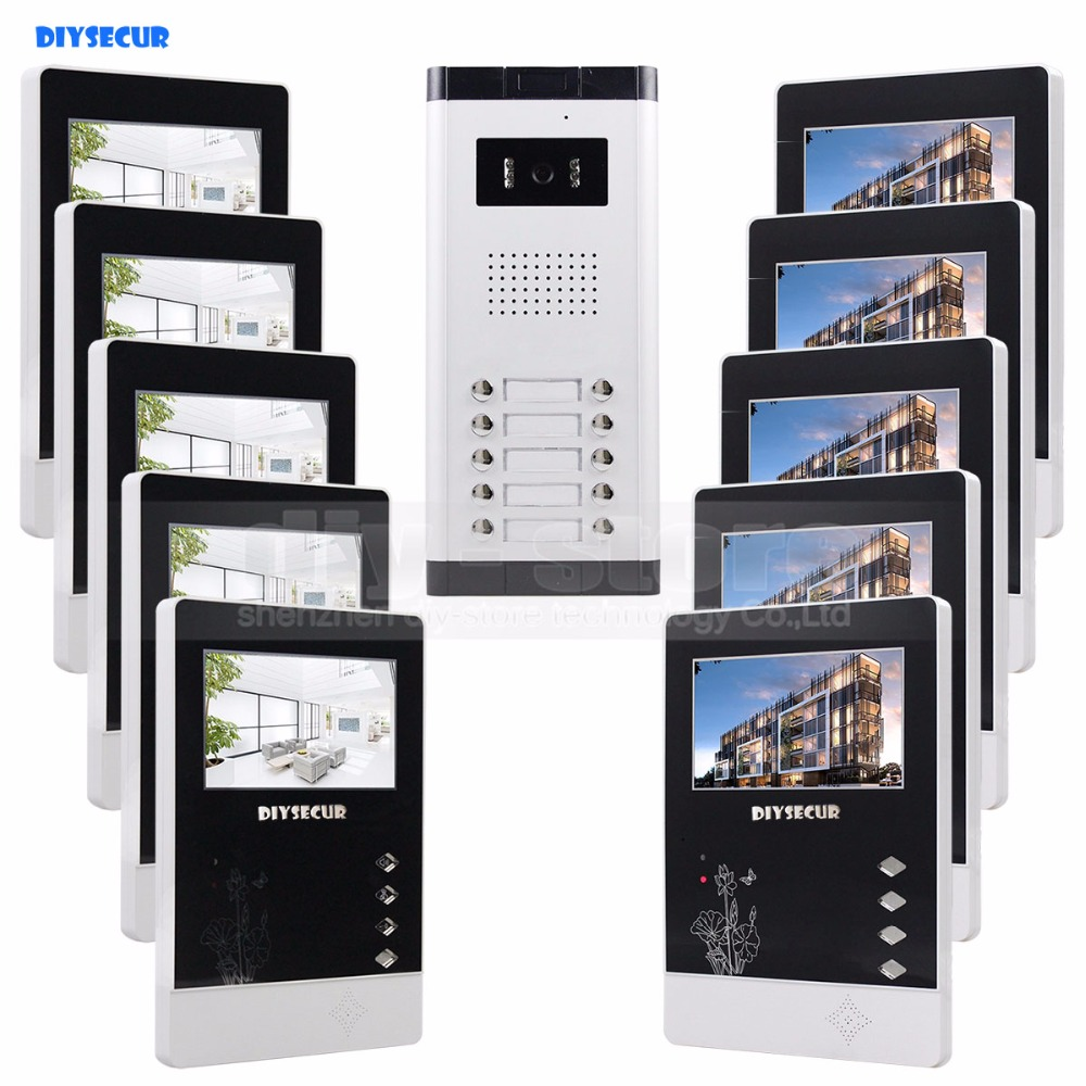 DIYSECUR 10 x 4.3 inch Monitor 4-Wired Apartment Video Door Phone Audio Visual Intercom Entry System IR Camera For 10 Families diysecur 7 4 wired apartment video door phone audio visual intercom entry system ir camera for 6 families