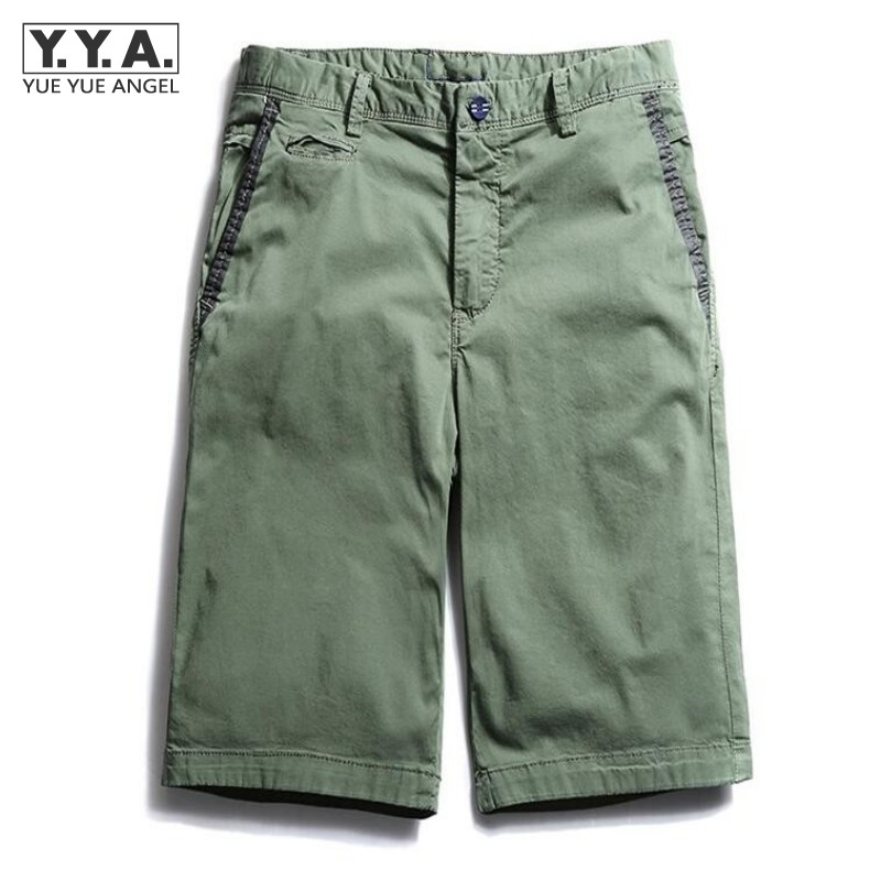 Summer Beachwear For Man Solid Stragith Sim Fit Shorts Thin Comfortable Shorts For Male Casual Washed Khaki Mens Shorts
