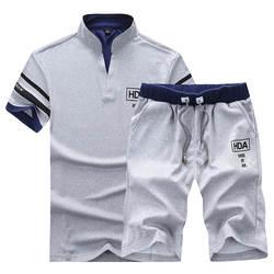 Мужские спортивные костюмы, брендовая одежда, повседневный костюм, мужские летние комплекты, спортивные костюмы с воротником-стойкой