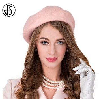 38b3c9a11 FS estilo británico boina Rosa sombrero para las mujeres 100% australiano francés  de fieltro de lana de invierno boinas artista francés Beanie gorras pintor  ...