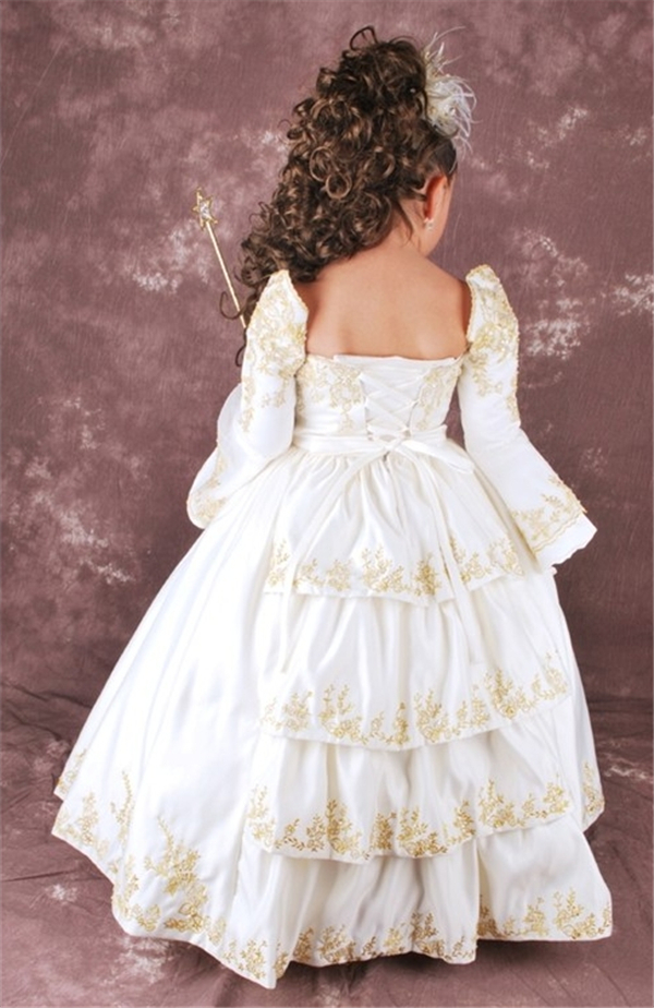2015 New Stylish Royal Flower Girl Dresses Long Sleeve Ball Gown Lace Hem  Kids Party Wear Frocks Girls Puffy Dresses Bolero Girl-in Flower Girl  Dresses from ... 07ee34bf19e5