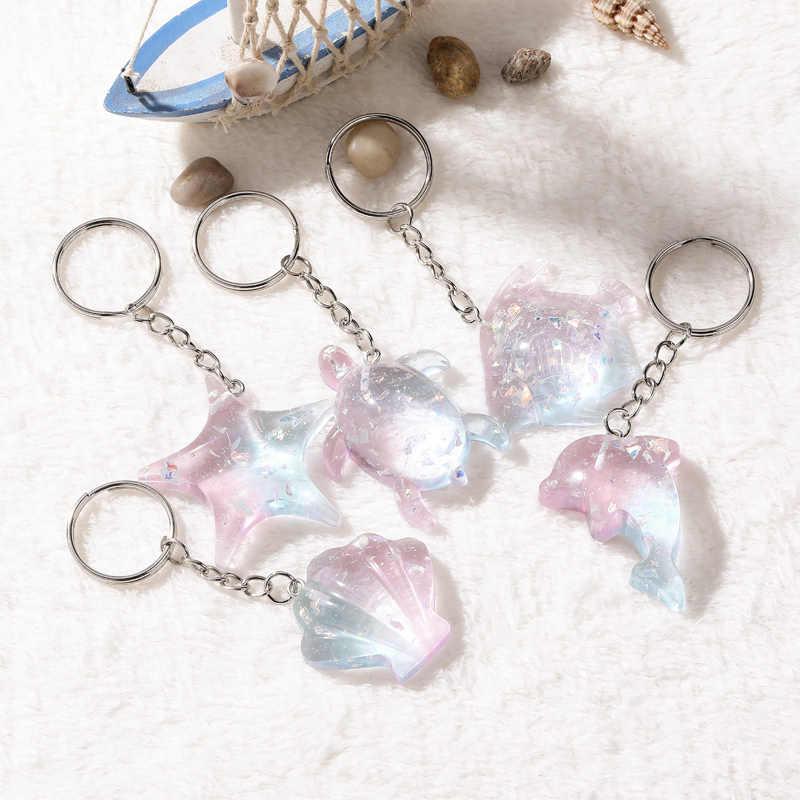 1 Mùa Hè đại dương phong cách nhiều loại động vật biển Móc Khóa lấp lánh flatback nhựa mặt dây chuyền cổ quyến rũ cho người phụ nữ