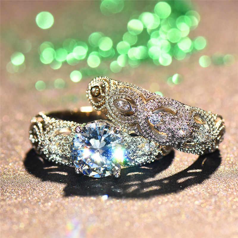 Luxo Moda Feminina Jóia Do Casamento Nupcial Set Anel Moda Cor Prata Amor Promessa Anéis De Noivado De Cristal Para As Mulheres
