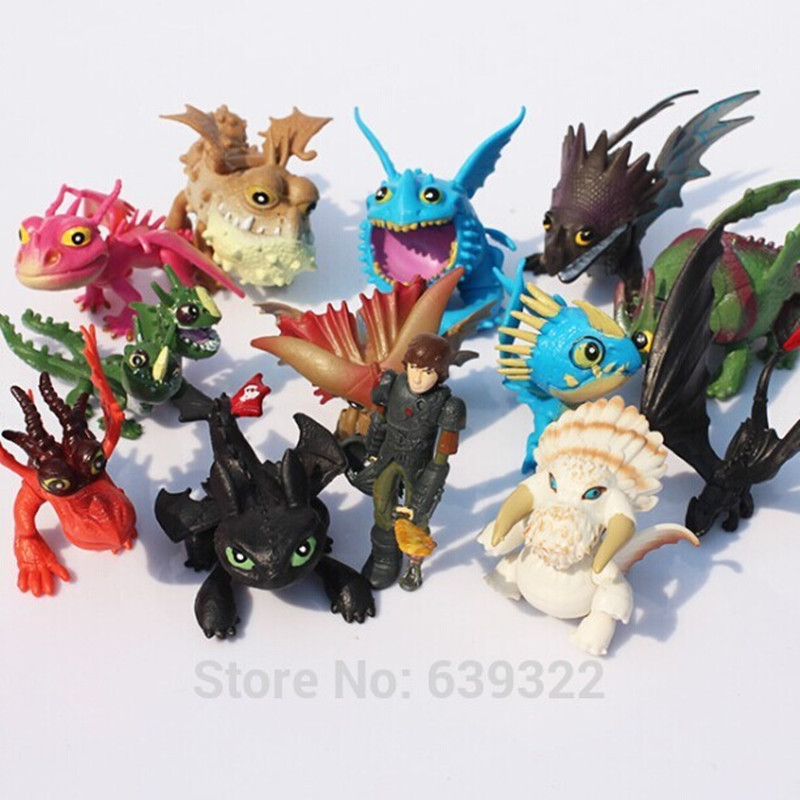 13pcs/lot 5-7cm How to Train Your Dragon 2 Night Fury Toothless Hiccup Dragon PVC Action Figures Christmas Gifts how to train your dragon 2 dragon toothless night fury action figure pvc doll 4 styles 25 37cm free shipping retail