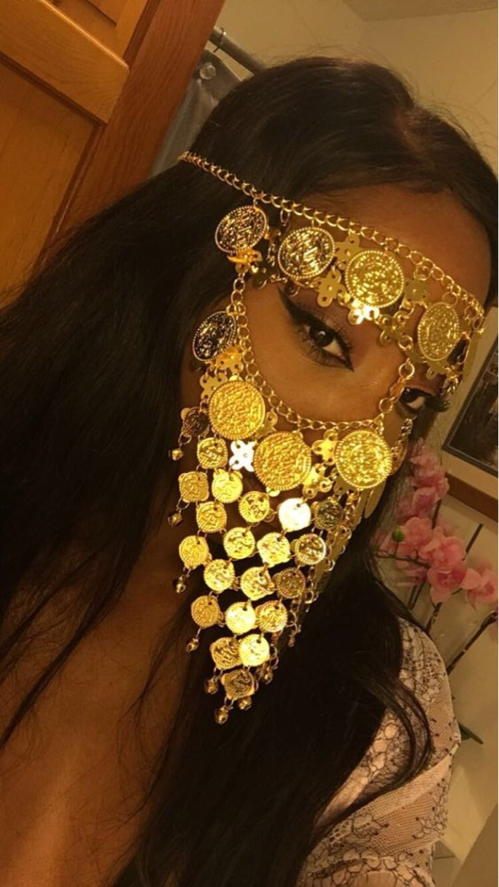 Belly Dance Costume Headwear Coins Face Mask Veil Tribal