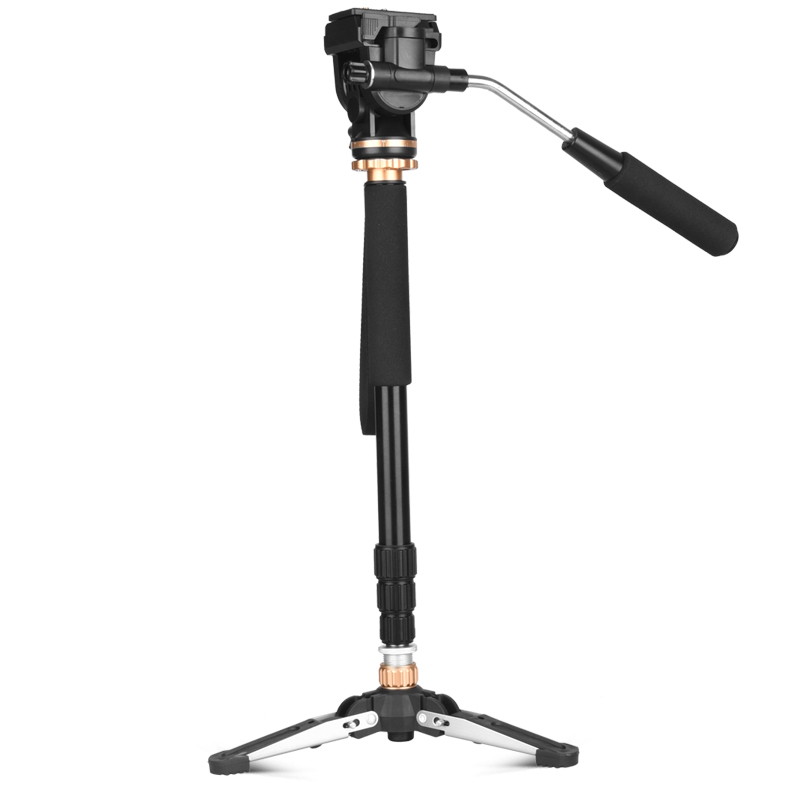 QZSD-Q159B Professional panhead aluminum DSLR digital video camera monopod with base mini tripod for travelling ashanks professional aluminum camera tripod mini portable monopod with ball head for dslr photography video studio load 10kg
