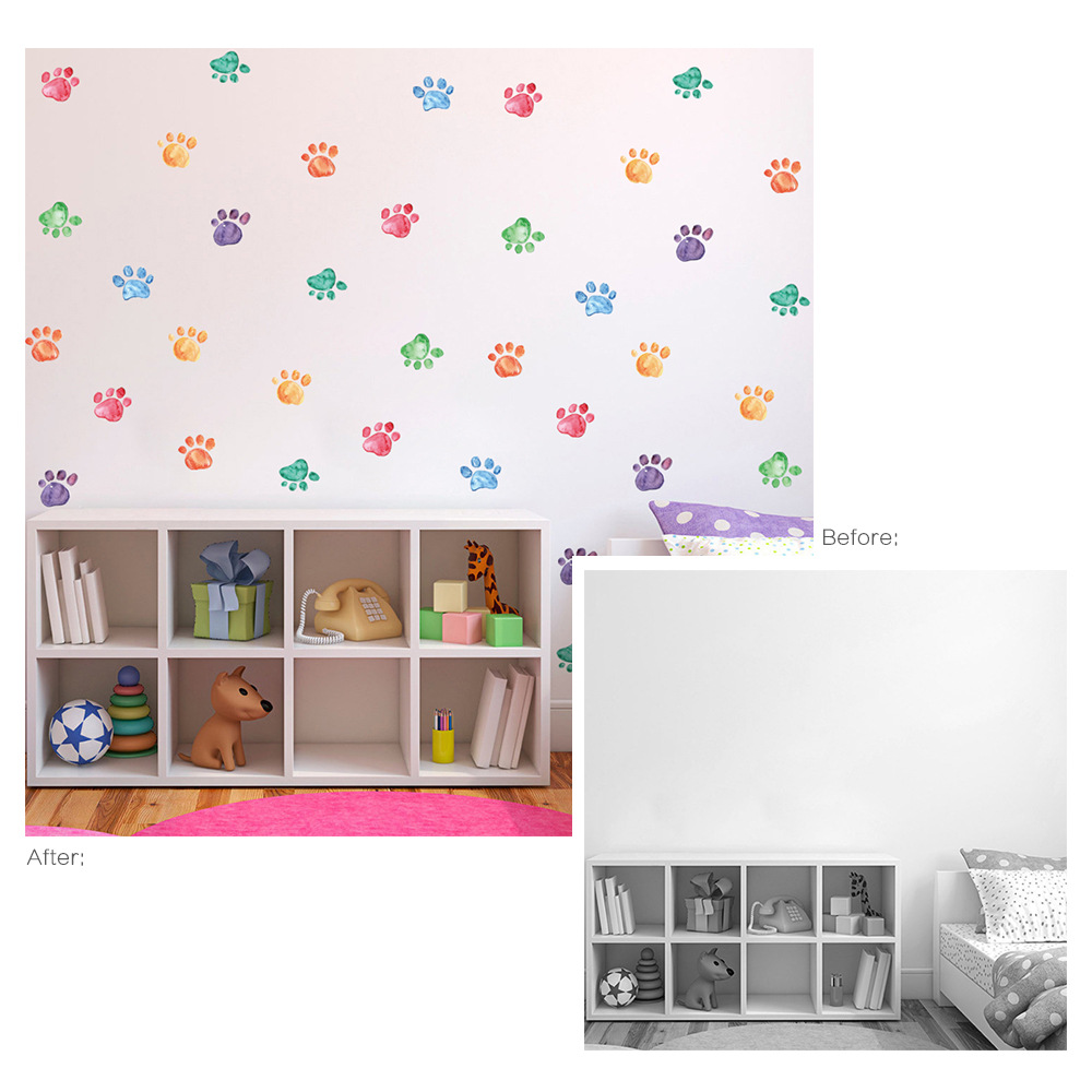 6 sheets/pack 54pcs Colorful Triangle Decals Wall Sticker DIY Wall Mural Sticker for Children Room Decoration PA007