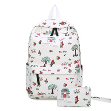 Красная Шапочка женские рюкзаки мультфильм цветок печати Школьный Рюкзак Холст ранцы для подростков девочек студентов мешок