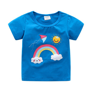 Jumping Meters New Brand Girls T shirts for Baby Summer Clothing Cotton Applique Children's Tees Tops Short Sleeve Shirts Kids