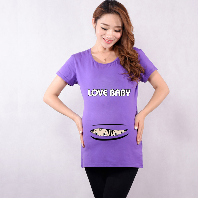 396b5b2a Quality maternity tops with baby peeking out cotton funny maternity shirts  pregnancy t shirts for pregnant women tops summer-in Tees from Mother &  Kids on ...